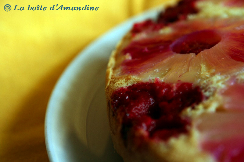 photo de Gâteau ananas framboises